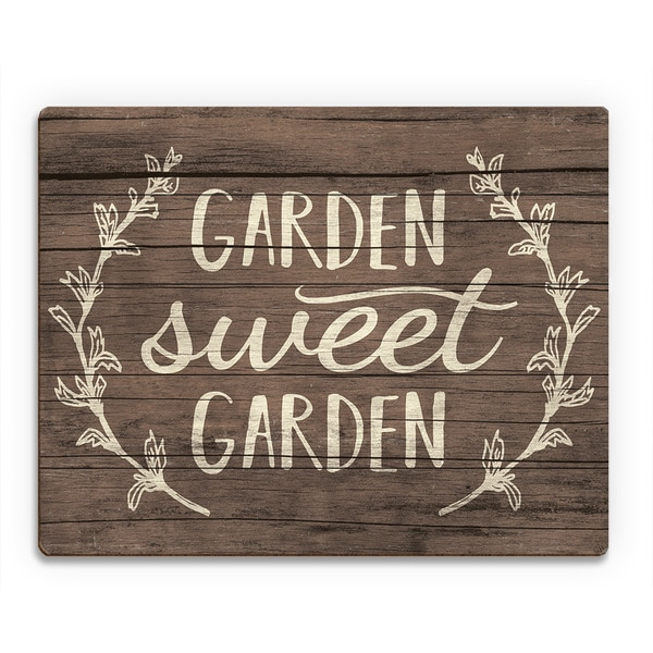 'Garden Sweet Garden' Wood Rustic Wall Art