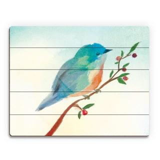 Turquoise Tinted Bird Print Wood Wall Art