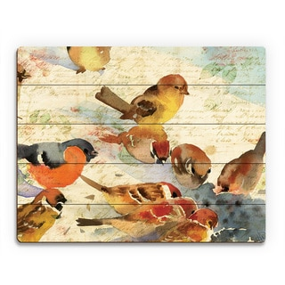 'Sparrow Gathering' Multicolored Wood Wall Art
