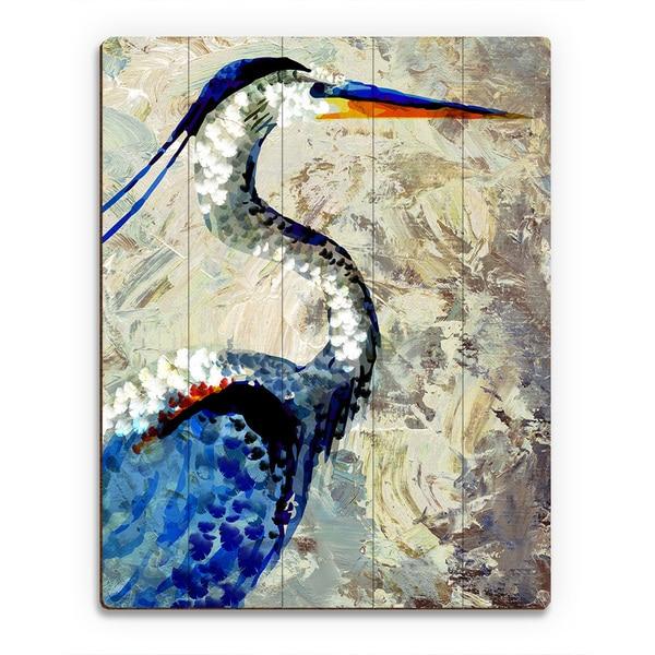 'Painted Crane' Birchwood Wall Art Print