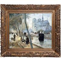 Jean Francois Raffaelli 'Notre-Dame de Paris' Hand Painted Framed Oil Reproduction on Canvas