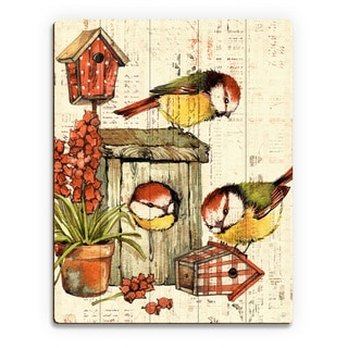 'Garden Birdhouse' Orange Wood Wall Art Print
