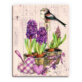 'Bird and Garden Flowers on Violet' Wood Wall Art