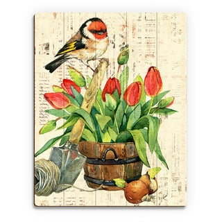 Garden Bird and Red Tulips Wood Wall Art Print