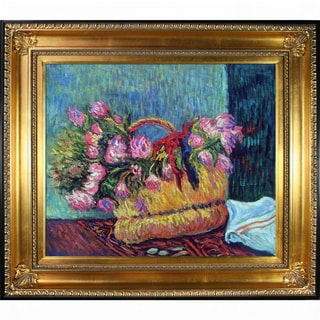 Paul Gauguin 'Basket of Flowers, 1884' Hand Painted Framed Oil Reproduction on Canvas