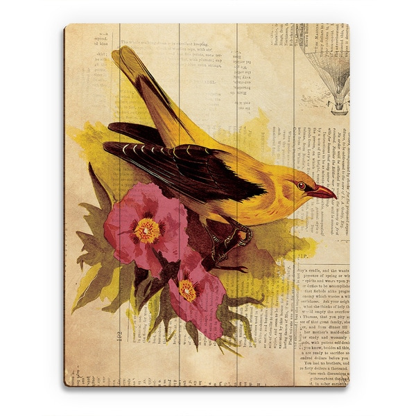 Goldfinch With Fuchsia Flowers' Multicolored Wood Wall Art