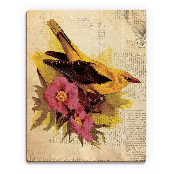 'Goldfinch With Fuschia Flowers' Multicolored Wood Wall Art