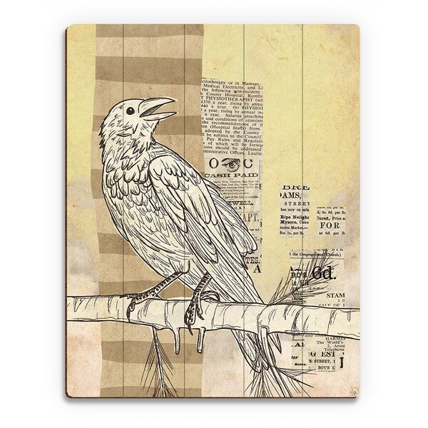 'Tabloid Bird' Multicolored Birchwood Wall Art
