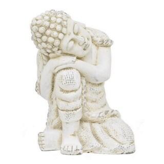 Benzara Off-white Rose Ceramic 19.75-inch Resting Buddha