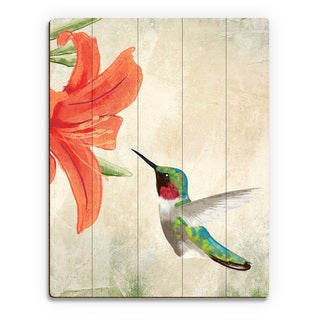 Hummingbird Summertime Wood Wall Art Print on Wood