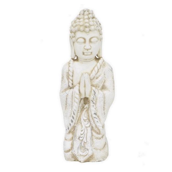 Benzara Off-white Rose 19.75-inch Kneeling Buddha