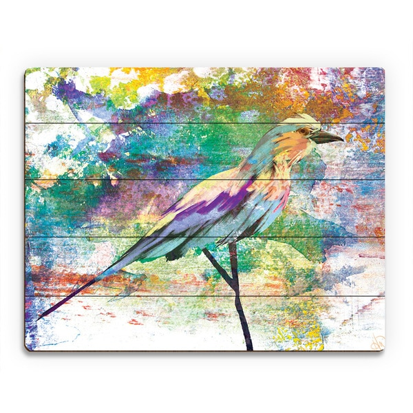 'Wisteria Breasted Roller' Wood Wall Art Print