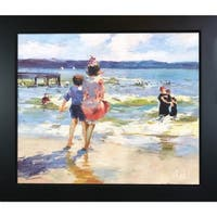 Edward Potthast 'At the Seashore' Hand Painted Framed Oil Reproduction on Canvas
