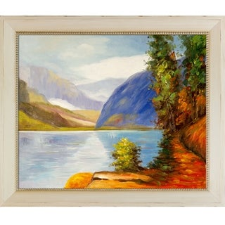 Edward Potthast 'Lake Louise, British Columbia' Hand Painted Framed Oil Reproduction on Canvas