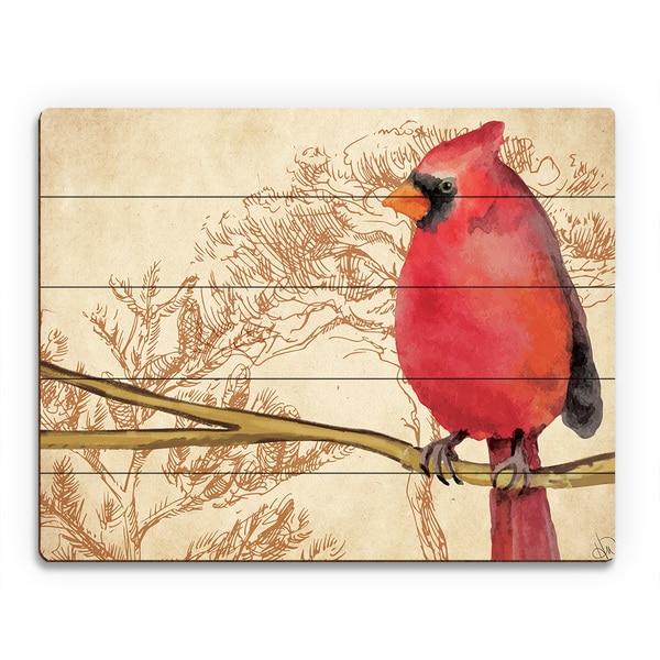 Mockingbird Brown Trees Wood Wall Art Print
