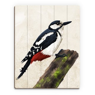 Painted Great Spotted Woodpecker Wall Art on Wood