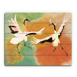 Dancing Cranes Chartreuse Multicolored Birchwood Wall Art
