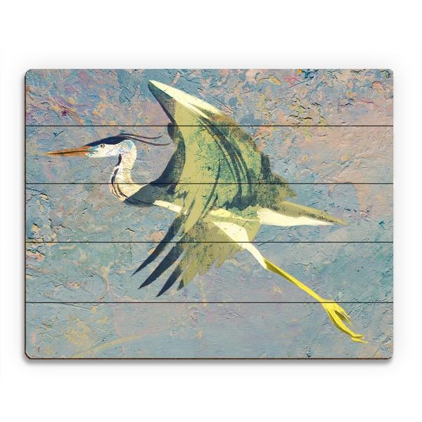 'Blue Heron Fresco' Multicolored Birchwood Wall Art