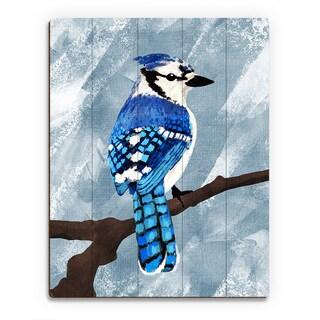 'Painted Blue Jay' Wood Wall Art Print