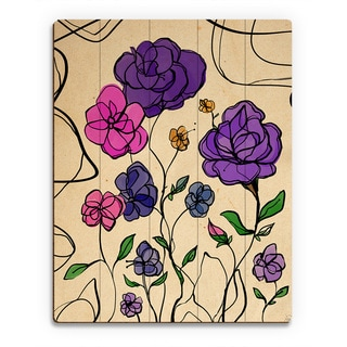 'Wires and Violet Roses' Birchwood Wall Art Print