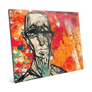 Elderly Portrait Scarlet Wall Art Print on Acrylic