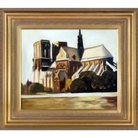 Edward Hopper 'Notre Dame de Paris, 1907' Hand Painted Framed Oil Reproduction on Canvas
