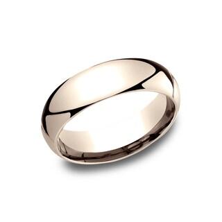 Men's 6MM 14K Rose Gold Comfort-Fit Traditional Wedding Band - 14K Rose Gold