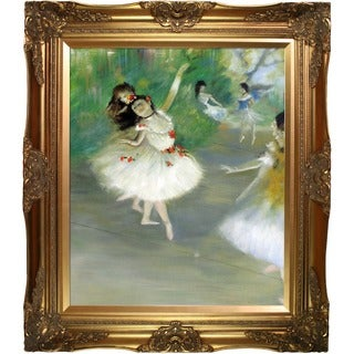 Edgar Degas 'Dancers, 1878' Hand Painted Framed Oil Reproduction on Canvas