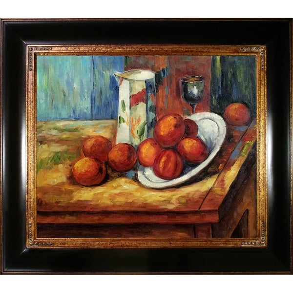 Paul Cezanne 'Bricoo, Bicchiere e Piato' Hand Painted Framed Oil Reproduction on Canvas