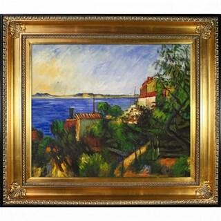 Paul Cezanne 'La Mer A l'Estaque' Hand Painted Framed Oil Reproduction on Canvas