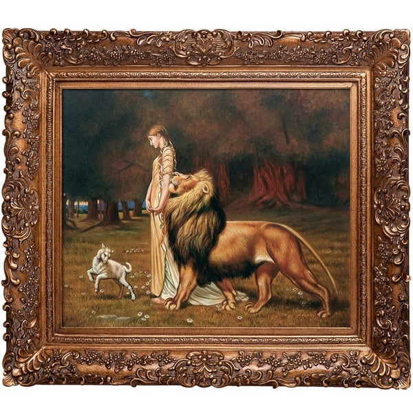Briton Rivire 'Una and the Lion' Hand Painted Framed Oil Reproduction on Canvas