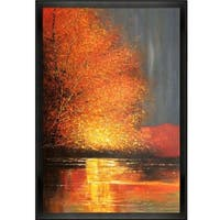 Justyna Kopania 'River' Hand Painted Framed Oil Reproduction on Canvas