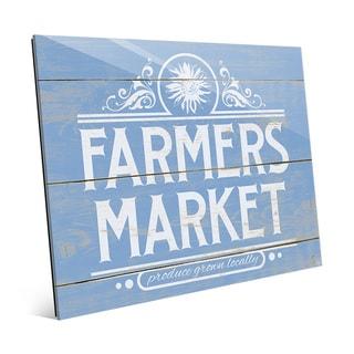 'Farmers Market Sign' Blue Acrylic Wall Art Print