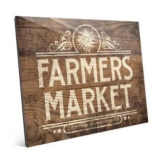 'Farmers Market Sign' Brown Acrylic Wall Art
