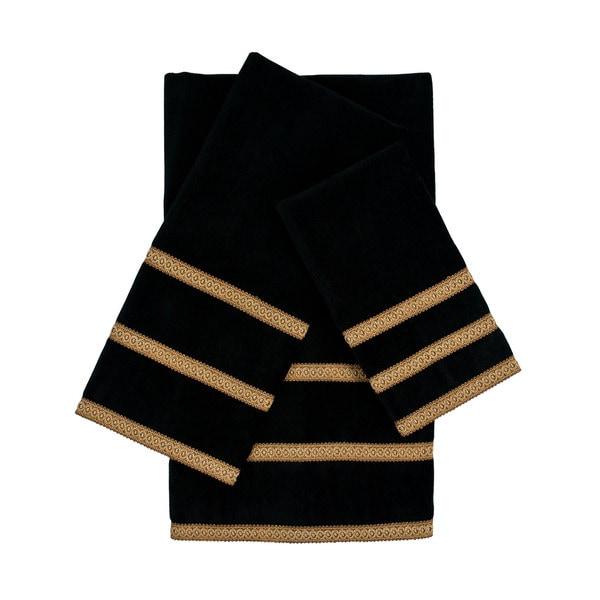 Sherry Kline Triple Row Gimp Black 3-piece Decorative Embellished Towel Set
