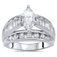 Certified Noori 14k Gold 2 1/2 ct TDW Marquise Diamond Engagement Ring - White