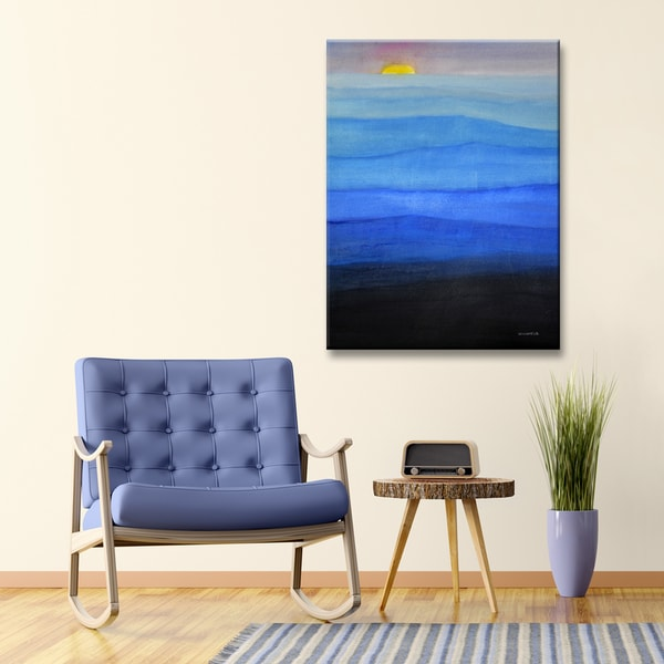 Misty Blues' by Norman Wyatt, Jr. Abstract Wrapped Canvas Wall Art