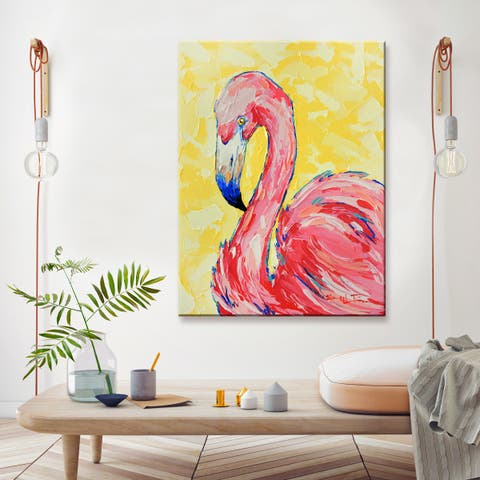 'Flamingo' Wrapped Canvas Coastal Wall Art