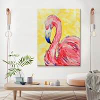Flamingo' Wrapped Canvas Coastal Wildlife Wall Art