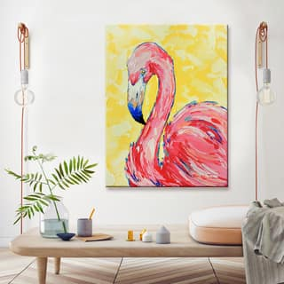 Porch & Den Flamingo' Wrapped Canvas Coastal Wildlife Wall Art