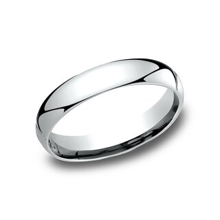 14k White Gold Comfort-fit Traditional Wedding Band - 14K White gold