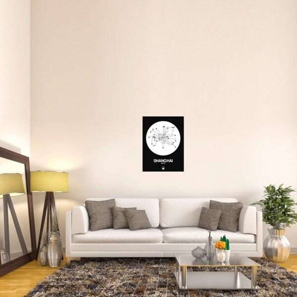 Naxart Studio 'Shanghai Subway Map' White/Black Stretched Canvas Wall Art