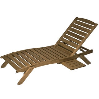 Timbo Mestra Hardwood Patio Chaise Lounge with Tray, Brown Finish