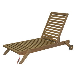 Timbo Mestra Hardwood Outdoor Patio Chaise Lounge in Brown.