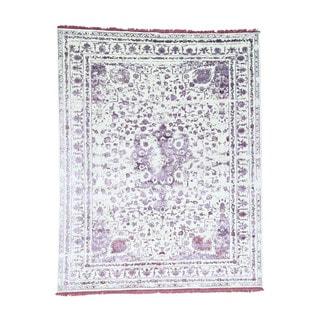"1800getarug Wool and Bamboo Silk Handmade Broken Persian Design Rug (8'1""x10'3"")"