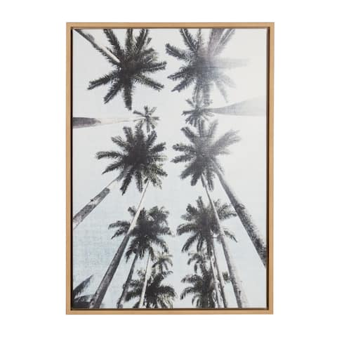 Kate and Laurel Sylvie Row of Palm Trees Framed Canvas Wall Art by Simon Te Tai, 23x33 Natural