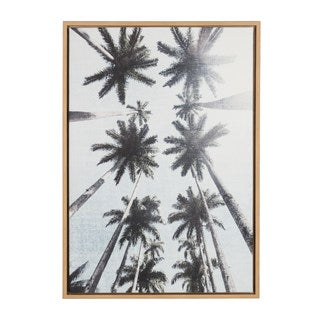 DesignOvation Simon Te Tai Sylvie 'Row of Palm Trees' Natural Framed Canvas Wall Art