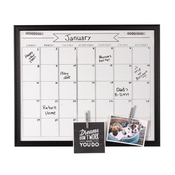Shop Designovation Walcott Wood Framed Dry Erase Monthly