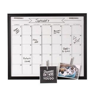 Designovation Walcott Wood Framed Dry Erase Monthly Calendar