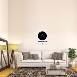 Naxart Studio 'Amsterdam Black Subway Map' Black/White Stretched Canvas Wall Art